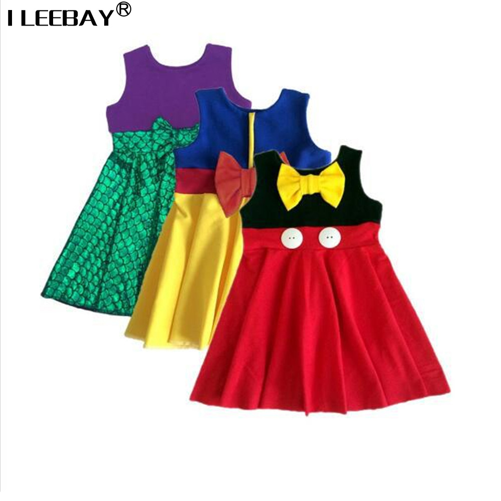 Hot Sale Princess Dresses for Girls Kids Snow White Belle Cartoon Costume Children Patchwork Vestido Cute Bow Striped Clothes hot sale halloween cosplay costume for women snow white princess black wigs free shipping
