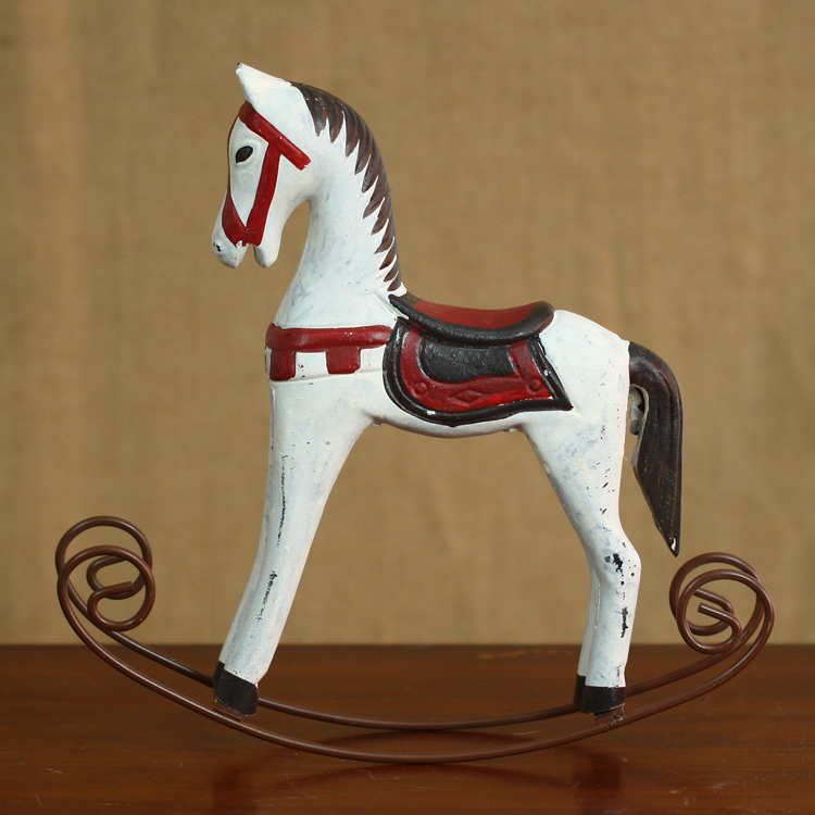nordic style ornaments hand painted wooden rocking horse european cafes decoration decorationchina - Painted Wood Cafe Decoration