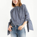 Fashion Striped Stand Collar Pullover Three Quarter Sleeve With Tie Bow Blouse Back Button Shirt Women Tops New femme SY17-02-09