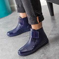 New Arrivals Men Fashion Hook & Loop Ankle Rain Boots Flat Heels Waterproof Rainboots British Style Warm Wellies Shoes #TR108