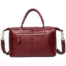 Fashion Genuine Leather Top-handle Women Handbag Casual Large Capacity Tote Crossbody Bags Solid Ladies Zipper Shoulder Bag