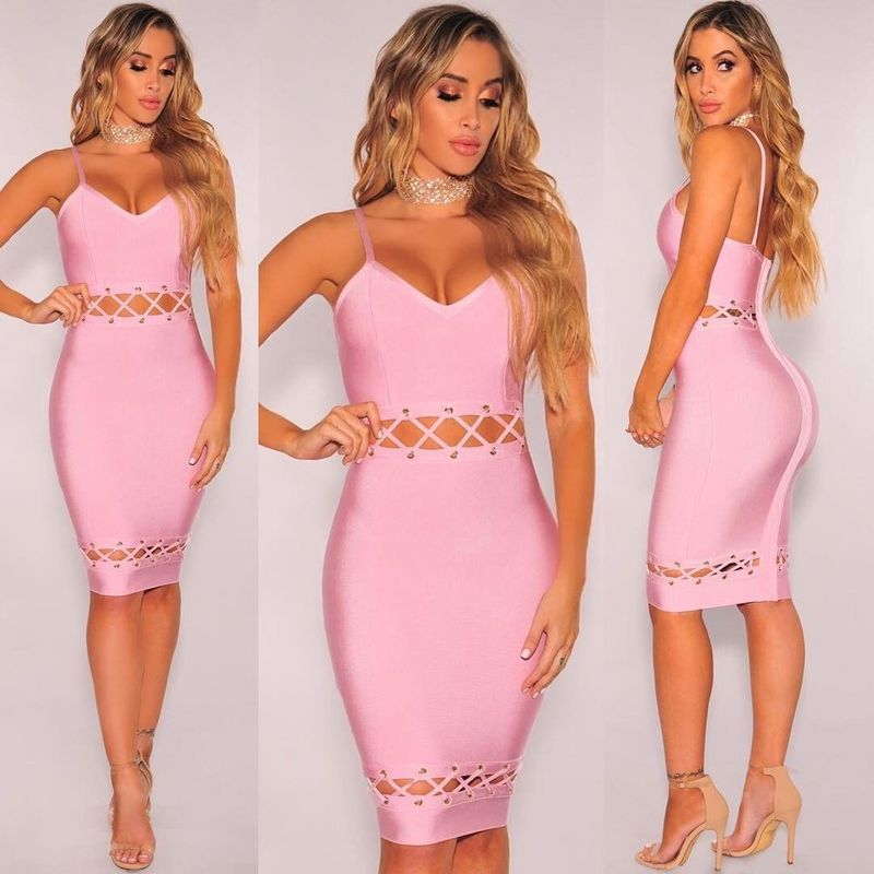 Spaghetti Strap V Neck 2017 Womens Waist Hollow Out Knee-Length Solid Bandage Dress Orange Pink L-060