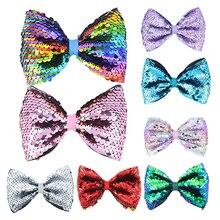 Multicolor candy-colored sequins hair clip Newborn bow Hair Accessories Headwear 5-inch Infant cute Headdress hairpin hairgrip
