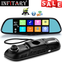 HD 1080P 7″  Touch screen Car DVR Mirror Android 4.4 Support GPS Navigation Wifi dual lens Rearview Car Mirror Parking monitor