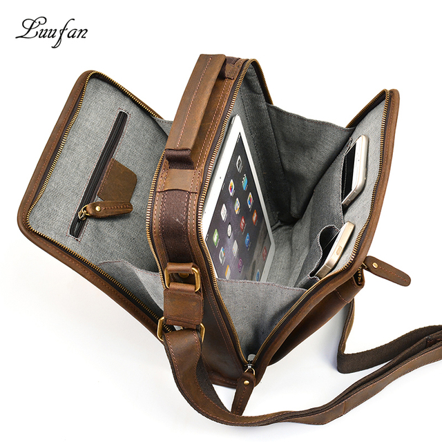 a9002cdd77 Mens zip around genuine leather messenger bag vintage crazy horse leather  iPad magazine double zipper crossbody bag handbag