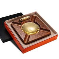 CIGARLOONG Legno + Lega di sigaro posacenere regalo più leggero set installato fumo di legno di rame serbatoio con il sigaro accendino AH-1080