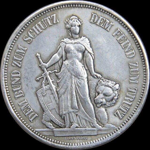 Schweiz 1885 Bern 5 Franken Schießen Festival Thaler Messing Silber