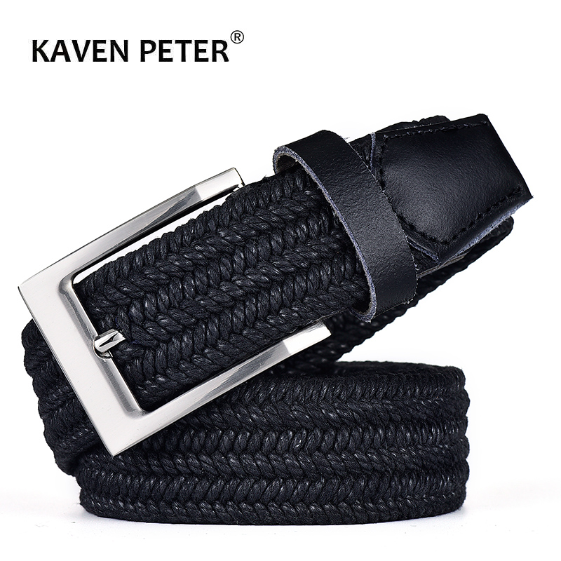 Men Leather Belt For Elastic Rope Wax Canvas Braided Woven Stretch Long Waist Belt 3.5 CM Cowskin Belt Top Tip For Men 95-160 CM
