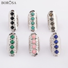 BOROSA 5PCS Silver Bezel Round Black Agates Malachite Band Ring Labradorite Natural Stone Claw Rings Jewelry ZS0394