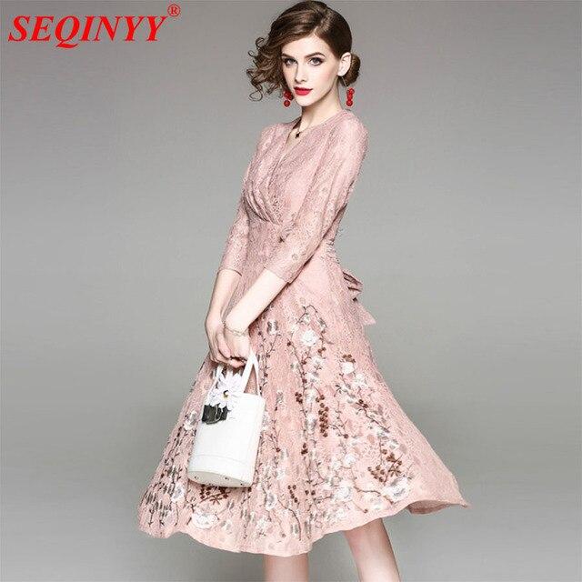 High end Кружево платье для Для женщин 2018 Весенняя мода элегантный Розовый и абрикосовый цвета плюс Размеры XXL тяжелая работа цветы Вышивка тонкий Платья для женщин