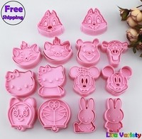 Free Shipping 7sets Mickey Rabbit Winnie Hello Kitty Cookie Cutters Mold
