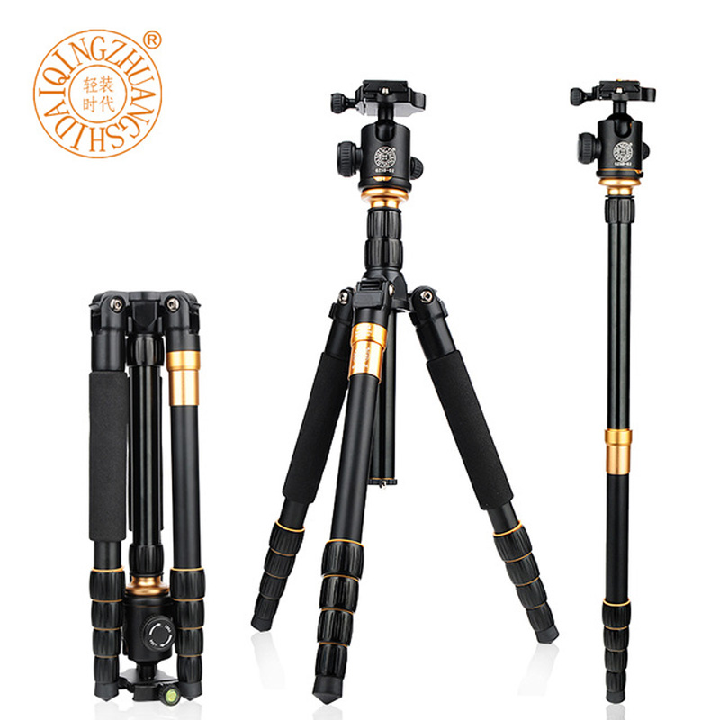 QZSD Q666 Photography Pro Portable Magnesium Aluminium travel Tripod for SLR Camera Monopod Tripod Ball Head Max Load to 15kg free shipping qzsd q472 slr camera tripod monopod