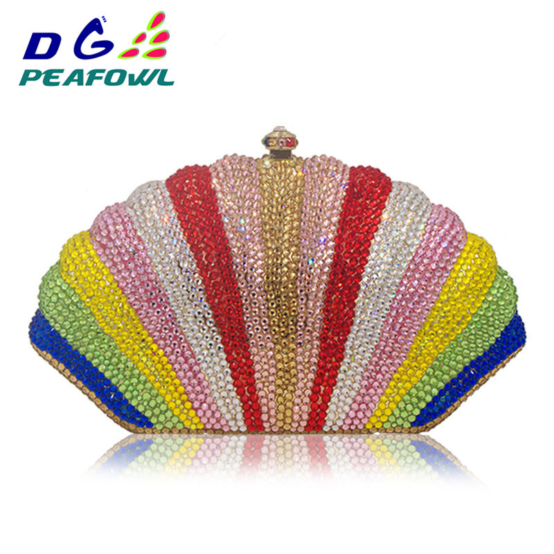 Stylish Shell Rainbow Crystal Full Diamond Woemn Evening Bags Ladies Day Clutches Rhinestone Clutch Banquet Clutch BagStylish Shell Rainbow Crystal Full Diamond Woemn Evening Bags Ladies Day Clutches Rhinestone Clutch Banquet Clutch Bag