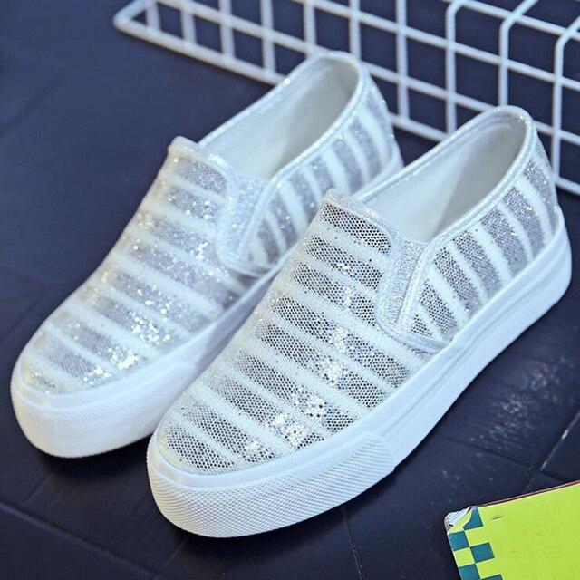 2017 новое прибытие женщин дышащий платформа холст обувь досуг повседневная обувь женщина мода побрякушки блестками плоским пятки бесплатная доставка