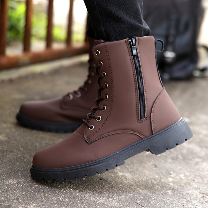 Mode Militaire Noires Style Des Angleterre Hommes Courts Noir Chaussures Noir Livraison Gratuite Combat À Hot Automne Bottes Hiver Brun marron De Rétro La xaU7wZpzq