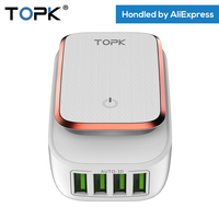 TOPK 5V 4A Max 4 Port Phone Charger LED Lamp Auto ID USB Travel Charger Adapter