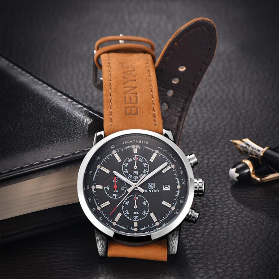 BENYAR zegarki mężczyźni luksusowej marki zegarek kwarcowy moda chronograf Reloj Hombre zegarek sportowy mężczyzna godzina Relogio Masculino 5