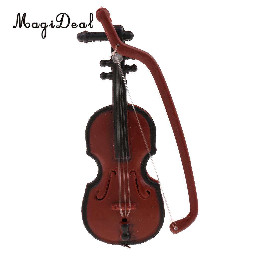Home Magideal 1/12 Scale Dollhouse Miniature Musical Instrument Plastic Violin Model Figures Display Decor Acc For Dolls Home Office We Take Customers As Our Gods