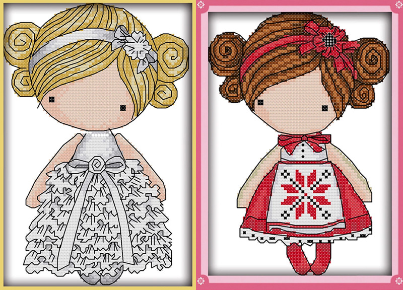 The White Dress Girl And Red Dress Girl Canvas DMC Counted Cross Stitch Kits Printed Cross-stitch Set Embroidery Needlework
