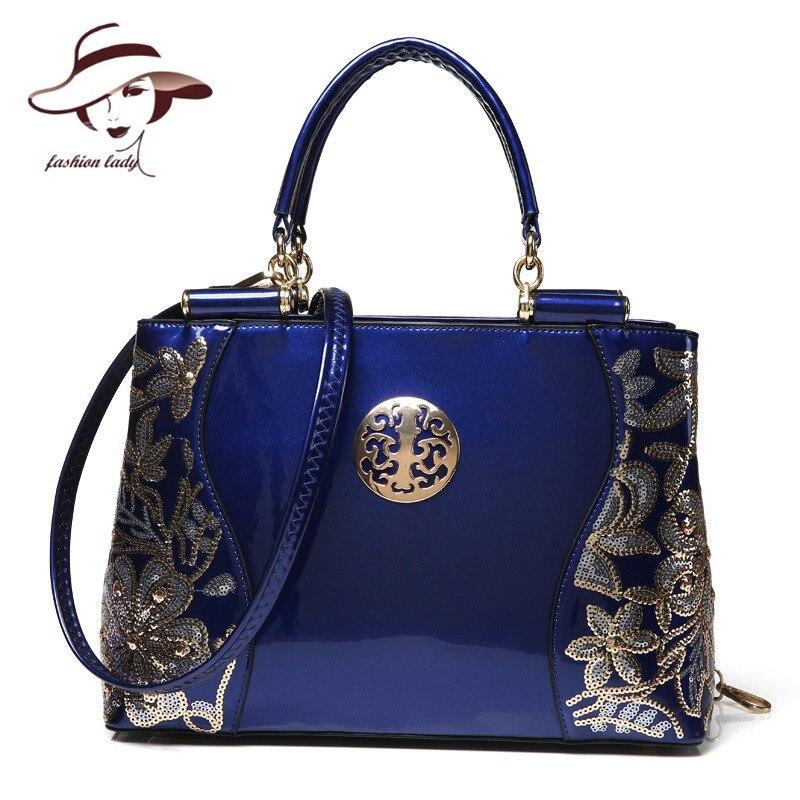 Новые Роскошные Европа Модные женские туфли сумка вышивка блестками цепи Лакированная кожа известный бренд на ремне сумки дамы посланник Ba
