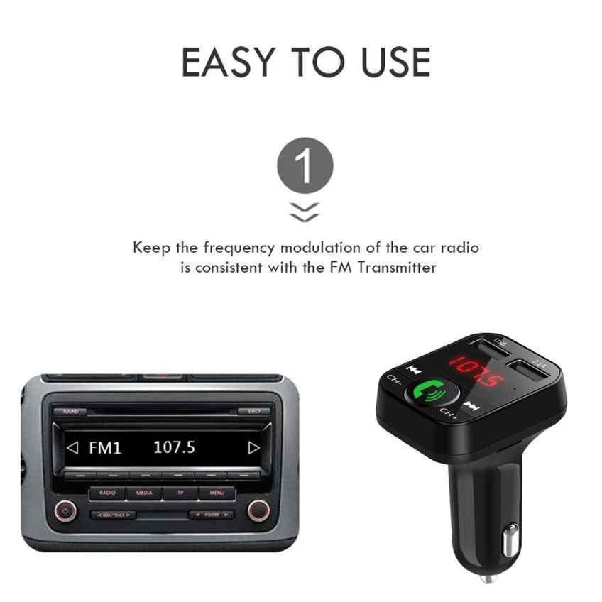 Handsfree Car Kit Bluetooth Wireless FM Transmitter LCD MP3 Player USB Charger Car Accessories Audio Cable With Data Cabl #S2