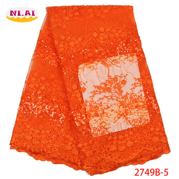 Orange Tulle Lace Fabric, Sequin Dress Lace Materials, African New Pattern Flower Lace Mr2749b