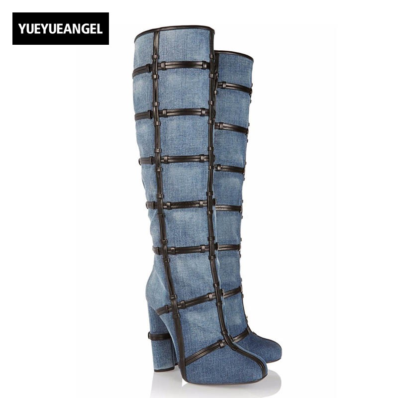 Fashion Women Jeans Thigh High Boots Sexy Night Club Cowboy High Heels Shoes 2018 New Large Size Denim Party Ladies Footwear 2017 autumn puppy jean new fashioned classic jeans water soluble lace women s fashion jeans large size jeans nw17c1199
