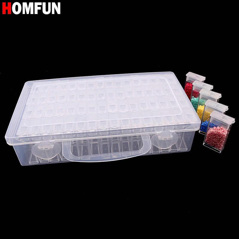 Herramienta de pintura de diamante bordado HOMFUN Caja de almacenamiento de plástico transparente con 64 rejillas para perforar joyas