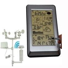 Easyoverプロフェッショナルワイヤレスウェザーステーションタッチパネルサーム湿度雨風圧pcデータソーラーパワー天気センター