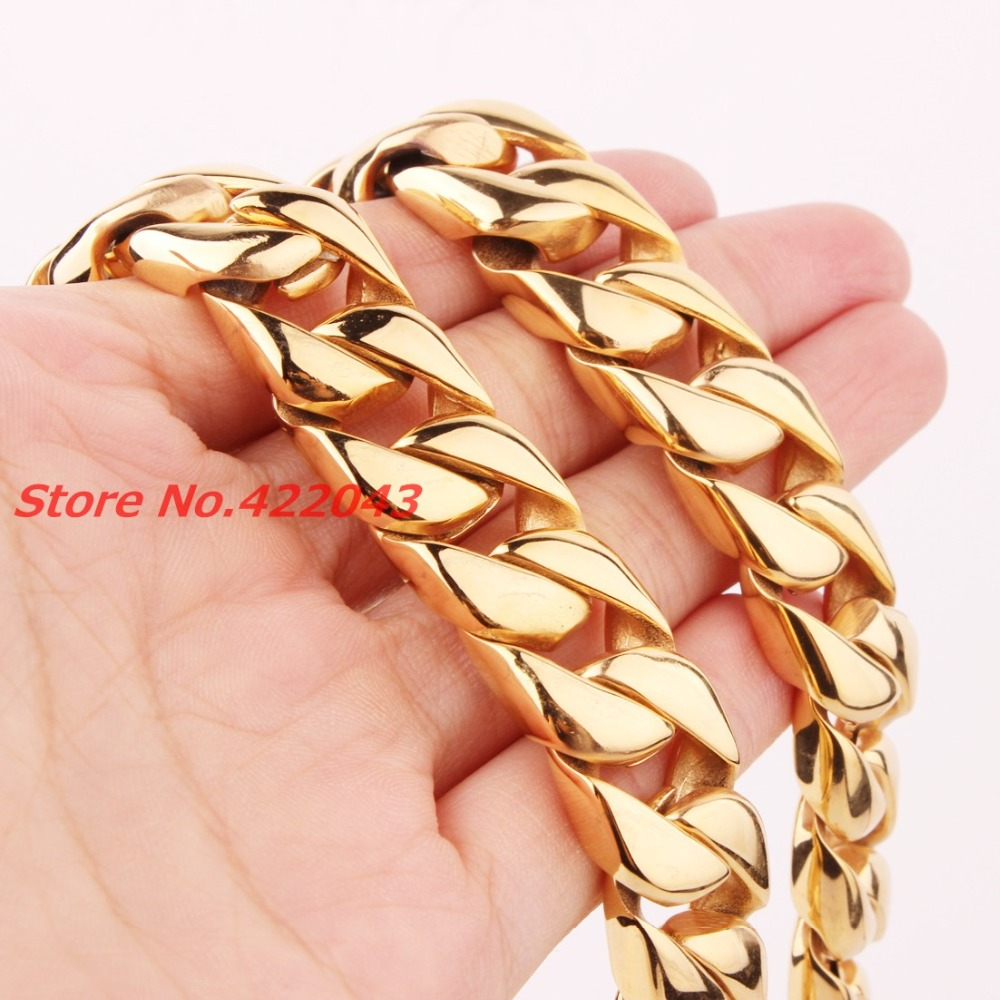 24 15MM Heavy Cool Gold Tone 316L Stainless Steel Mens Curb Cuban Chain Necklace, New Arrived Jewelry For Mens Boy's 203g Chain 20mm heavy jewelry 316l stainless steel silver gold black cuban curb chain mens bracelet bangle 8 5 high quality male wristband