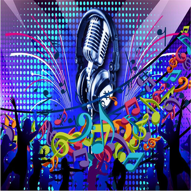 Buy wallpaper 3d microphone singing for Art mural wallpaper
