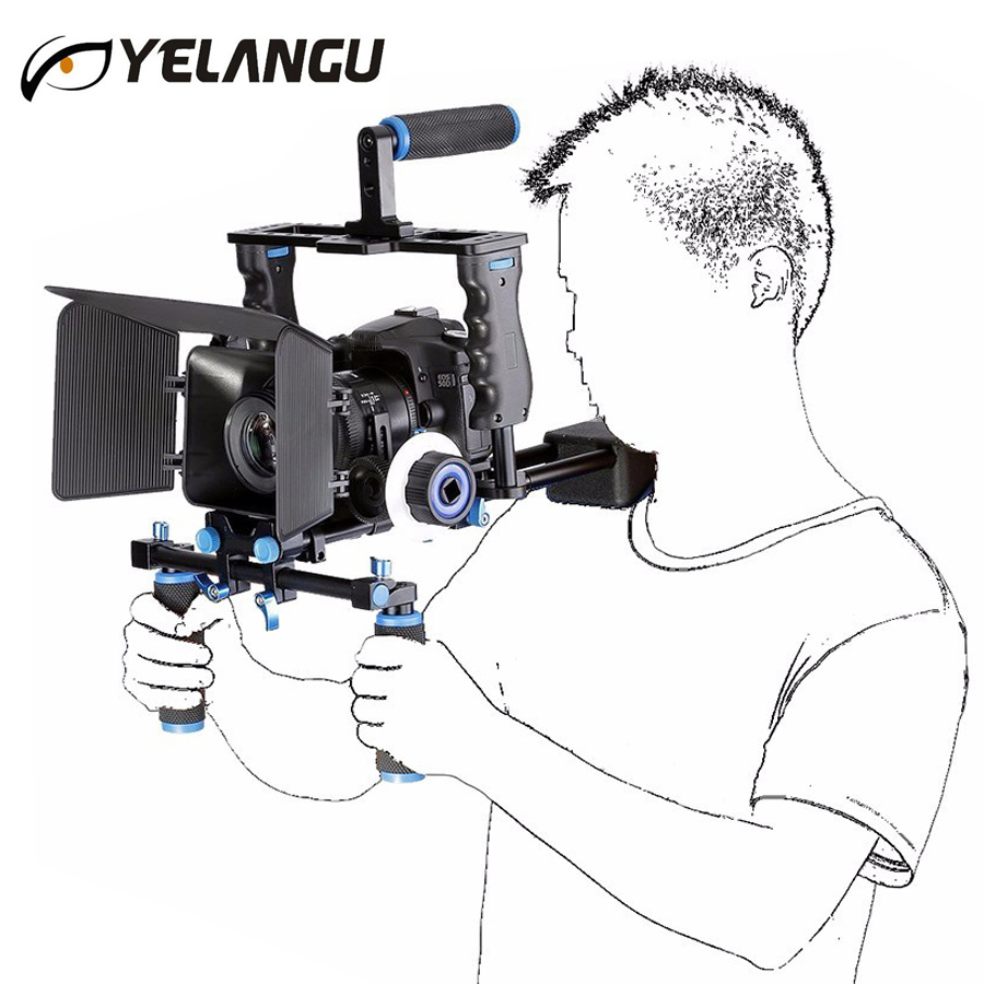 YYELANGU DSLR Rig Kit Shoulder Mount Rig+Matte Box+Follow Focus+Dslr Cage for Canon Nikon Sony DSLR Camera and Video Camcorder dslr rig double hand handgrip shoulder