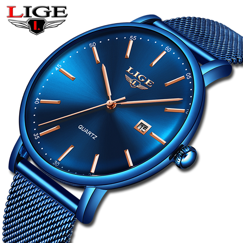 LIGE New Mens Watches Top Brand Luxury Sports Watch Slim Mesh Date Waterproof Quartz Watch For Men Blue Clock Relogio MasculinoLIGE New Mens Watches Top Brand Luxury Sports Watch Slim Mesh Date Waterproof Quartz Watch For Men Blue Clock Relogio Masculino
