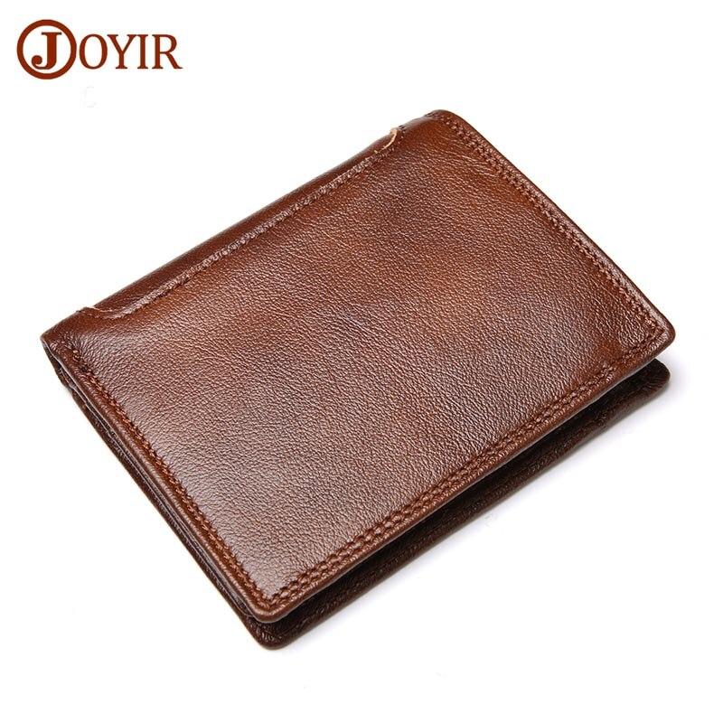 JOYIR New Men's Wallets Genuine Cowhide Leather Men Short Wallet Purse Card Holder Coin Pocket Vintage Male Wallets Fashion &42