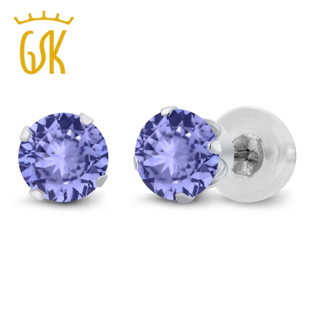 1.00 Ct Round Cut Natural Tanzanite Stud Earrings Solid 14K White Gold Engagement Earrings For Women GemStoneKing