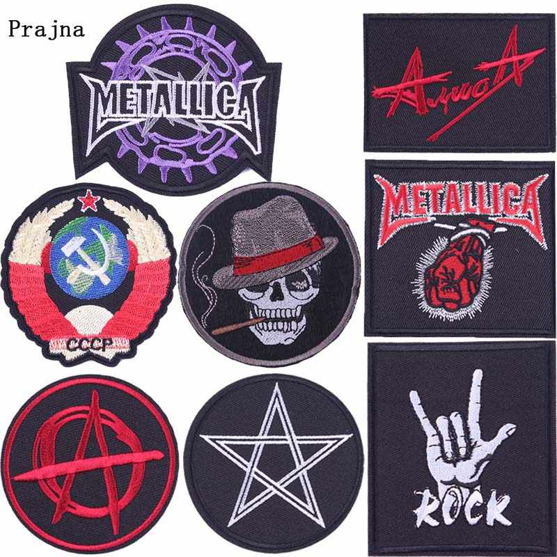 Prajna Rock Badge Stickers Band Embroidered Iron on Patches for Clothing DIY Hippie Patch Round Sign Decoration Black Badge F