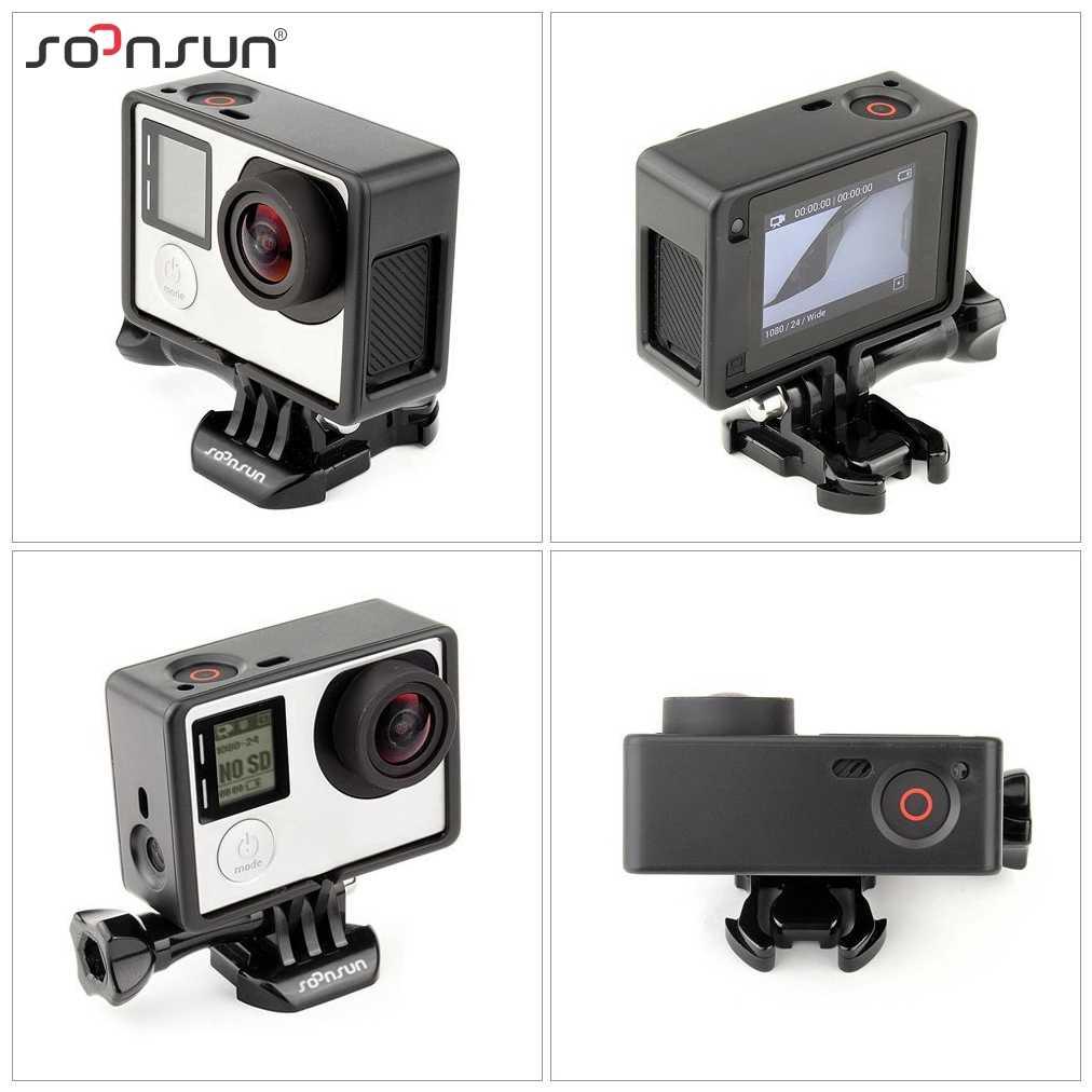 SOONSUN Standard di Protezione Telaio di Montaggio con Microfono Esterno Mic per GoPro Hero 3 3 + 4 Hero3 Hero4 per Andare pro Accessori