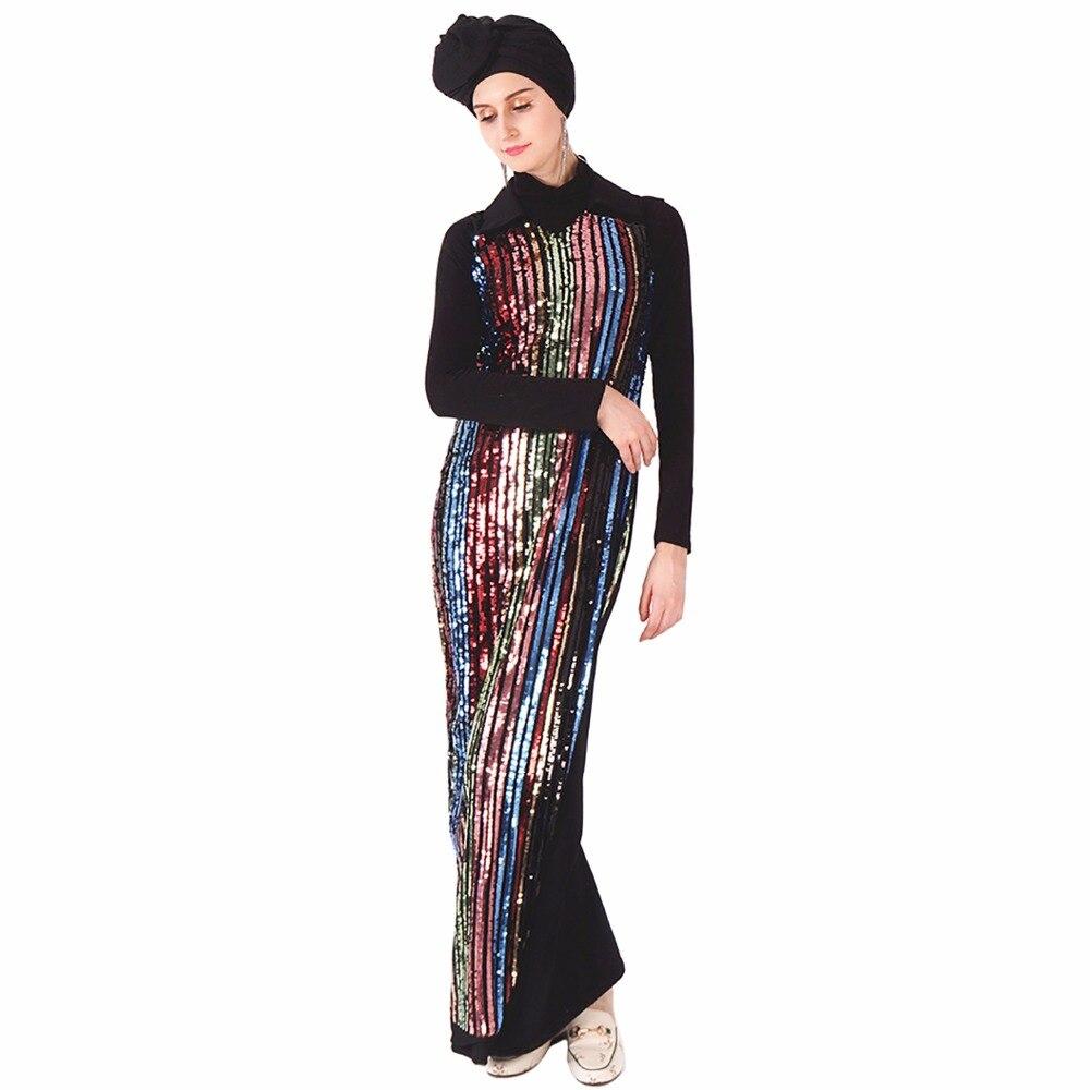 Babalet femmes musulman luxe paillettes coloré rayé Sequin broderie Slim Abaya col de chemise à manches longues élégante Maxi robe
