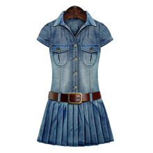 M-5XL New Summer Women Dresses Plus Size Fashion Turn-down Collar Casual Solid Belt Slim Jeans Dress For Women Denim One-piece цена