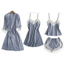 MECHCITIZ 4 pièces été femmes pyjamas ensembles avec peignoirs chemise de nuit sexy satin nuisette robe ensembles vêtements de nuit pijamas