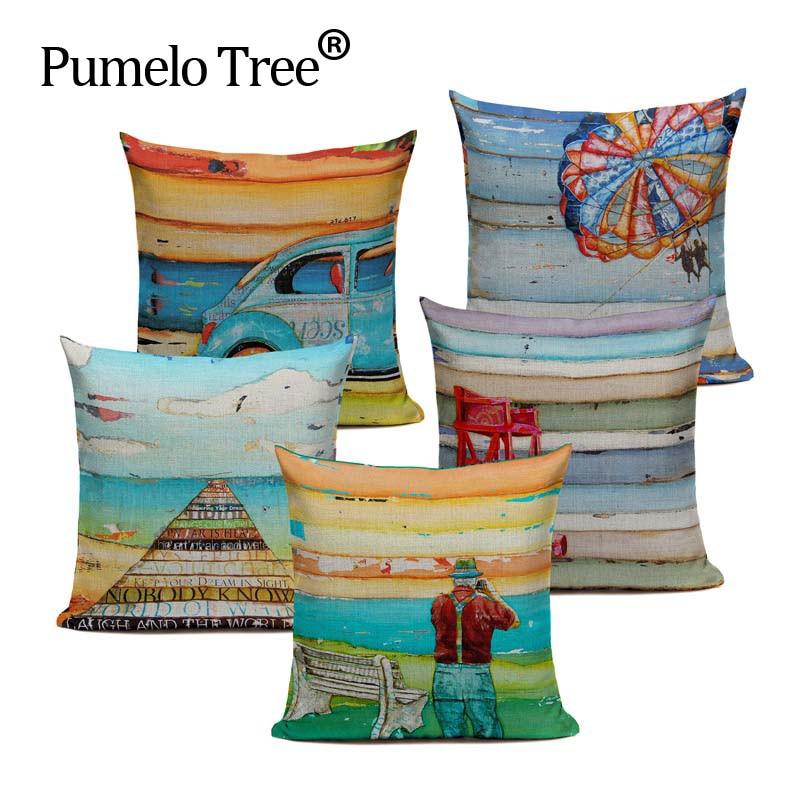 High Quality Beach Relax Cushions Cover Heart Holiday Home Decor Linen Pillow Cover Decorative Car Sofa Throw Pillows Pillowcase