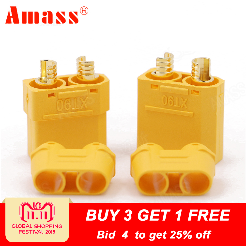 4pcs/lot Amass XT90 Battery Connector Set 4.5mm Male Female Gold Plated Banana Plug (2 pair) original amass xt90 2 male to 1 female parallel plug connector ammc06 for rc helicopter spare parts accessories