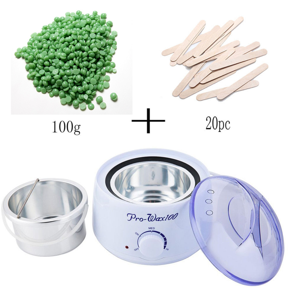 110V-240V Warmer Wax Heater 100g Beans 20pcs Wiping Sticks Professional Mini SPA Hand Epilator Feet Pot Depilatory Nail Tools