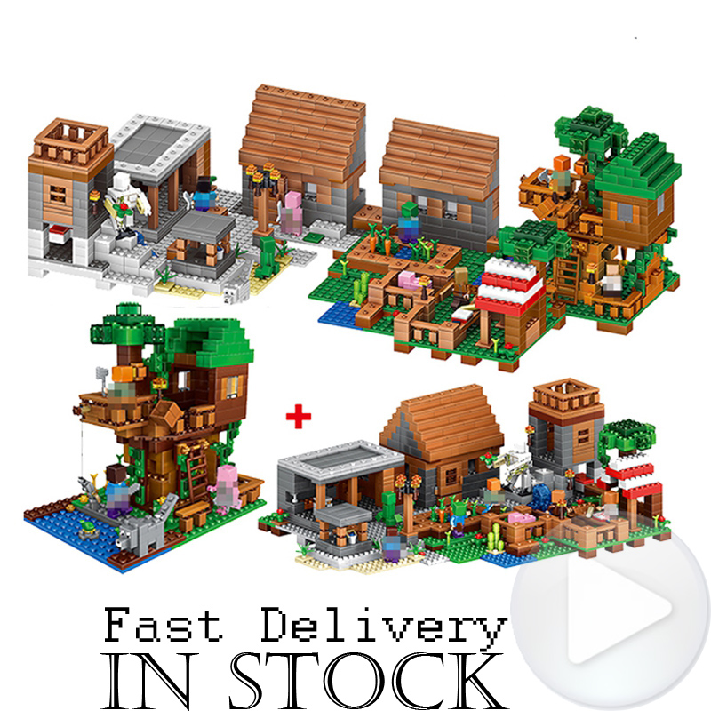 LELE 33068 1516PCS My World Minecraft The Village & Jungle Tree House action figures Building Block Bricks Toy For Children Gift lepin 404pcs my world the jungle temple minecraft model kit anime action figure building block bricks hot toy for children 21132