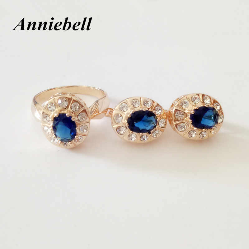 New Fashion Jewelry Sets Women Wedding Jewelry Romantic Luxury Dark Blue Round Cubic Zircon Bridal Ring / Earring Jewelry Sets