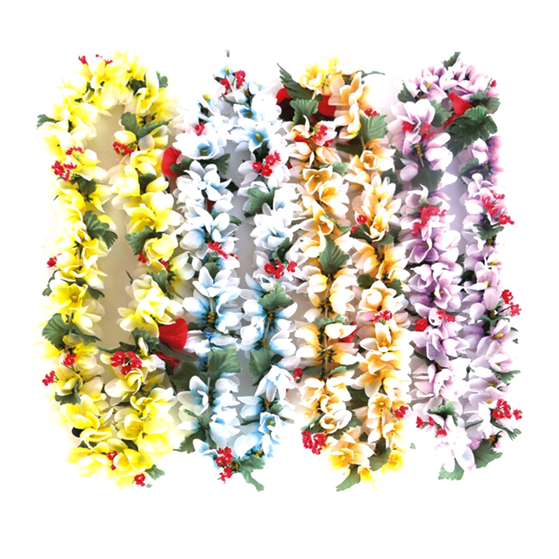 BOSHENG Hawaiian Colorful Luau Flower Leis Necklaces for Tropical Island Beach Theme Party Event,Set of 10 ...