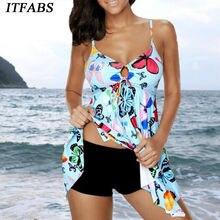 Hot 2019 Plus Size Two Piece Push Up Print Padded Lady Swimsuit Bathing Suit Women Swimwear Swim Beach Tankini M~4XL padded strapless print plus size tankini set