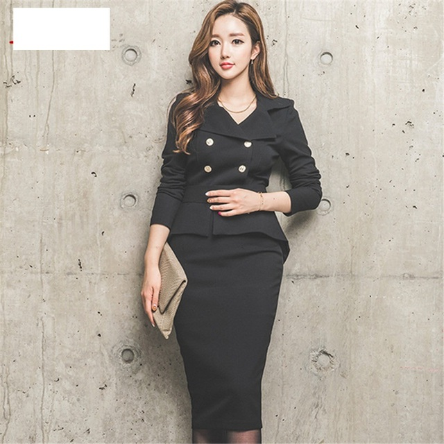 2 Piece Set Women 2016 Winter White / black double-breasted Business Flouncing Slim Crop Top And Skirt Casual Skirt suit