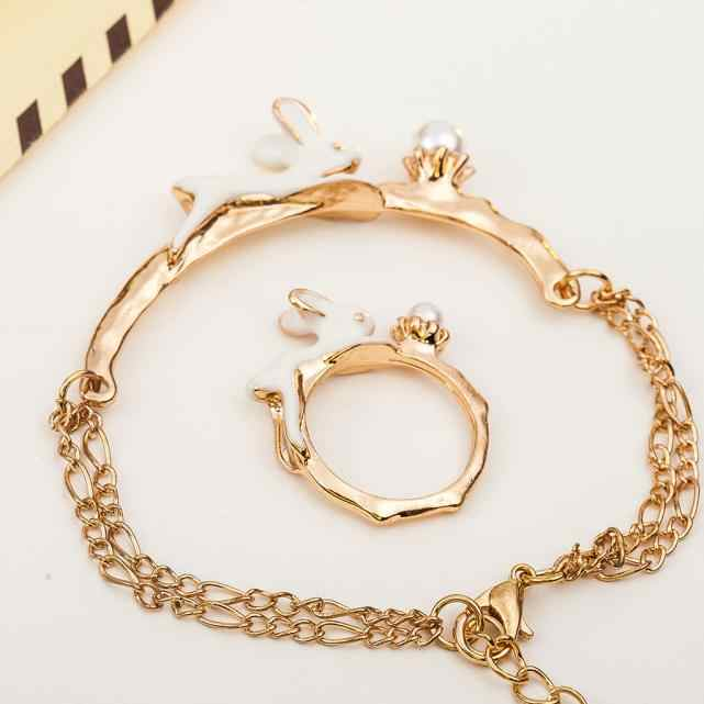 Stylish Bar HOT Lovely Bunny Ring Bracelet Jewelry Sets Cute Rabbit Pattern Fashionable Women Luxury Casual Bracelet Ring Set #1