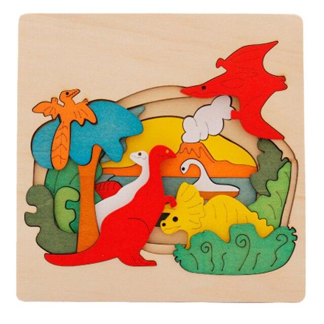 Дети Деревянные Игрушки Головоломки Игрушки Раннее Образование 3D Головоломки История Динозавров Мультфильм Животных Головоломки Хороший Подарок Для Детей